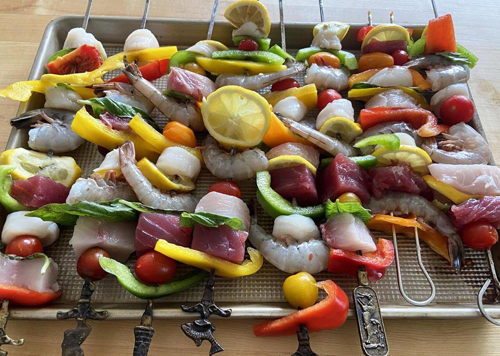 vegetable and fish kebabs