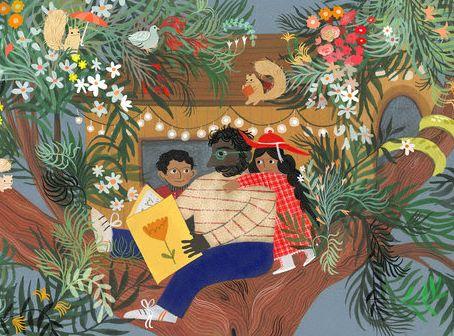 illustration of children in tree