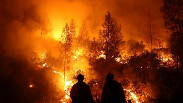 wildfire and firefighters