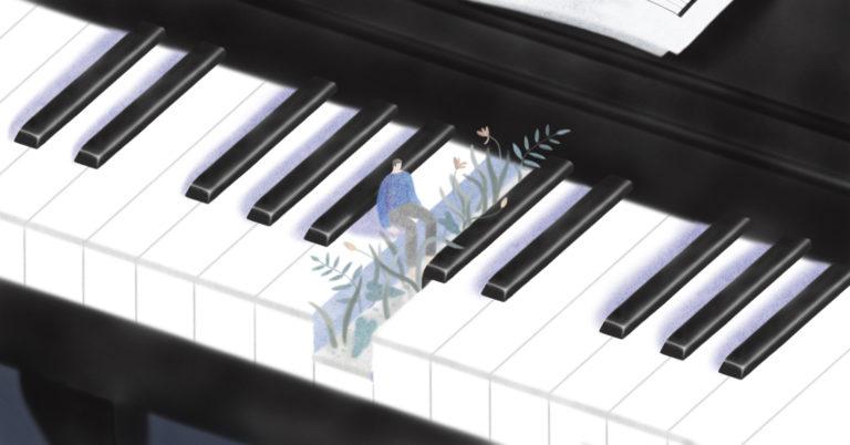 illustration of man sitting on piano keyboard