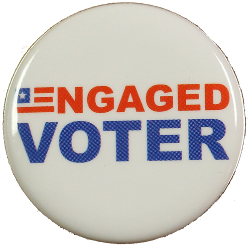 button with Engaged Voter on it