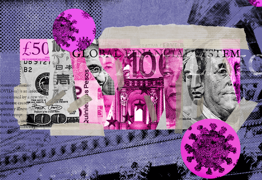 illustration of dollar bills and coronavirus