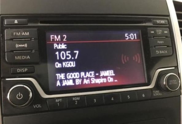 car dashboard playing KGOU