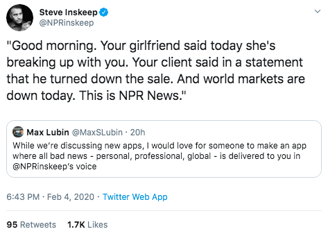 Tweet asking Steve Inskeep to read aloud bad news