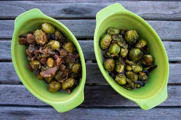 Two dishes of Brussels sprouts