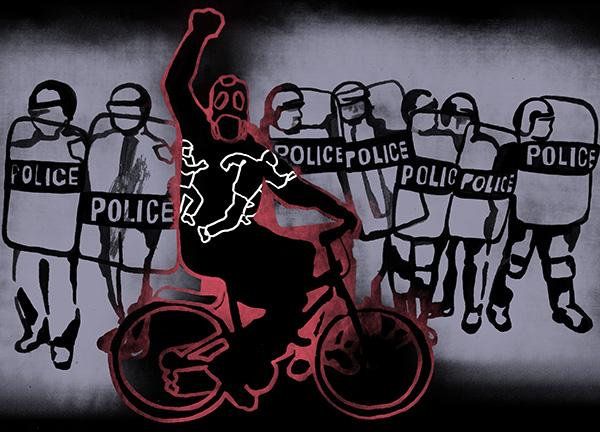 illustration of police line and man on bicycle