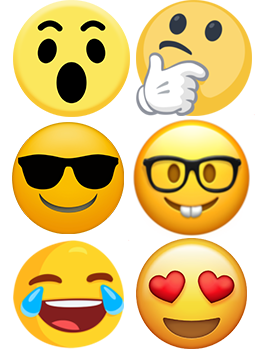 six emoji faces