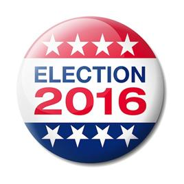 Election 2016 on campaign button