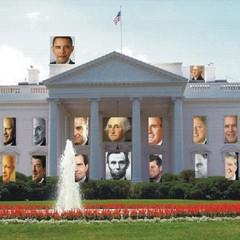 illustration of presidents in windows of White House