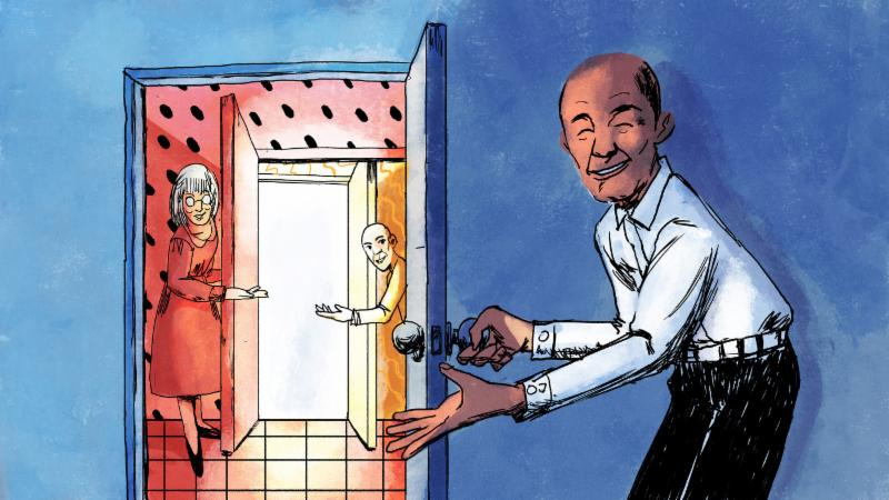 illustration of people opening doors