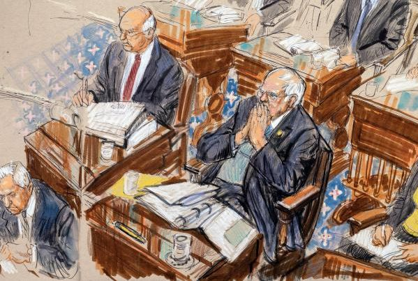a sketch artist drawing of two senators listening to testimony