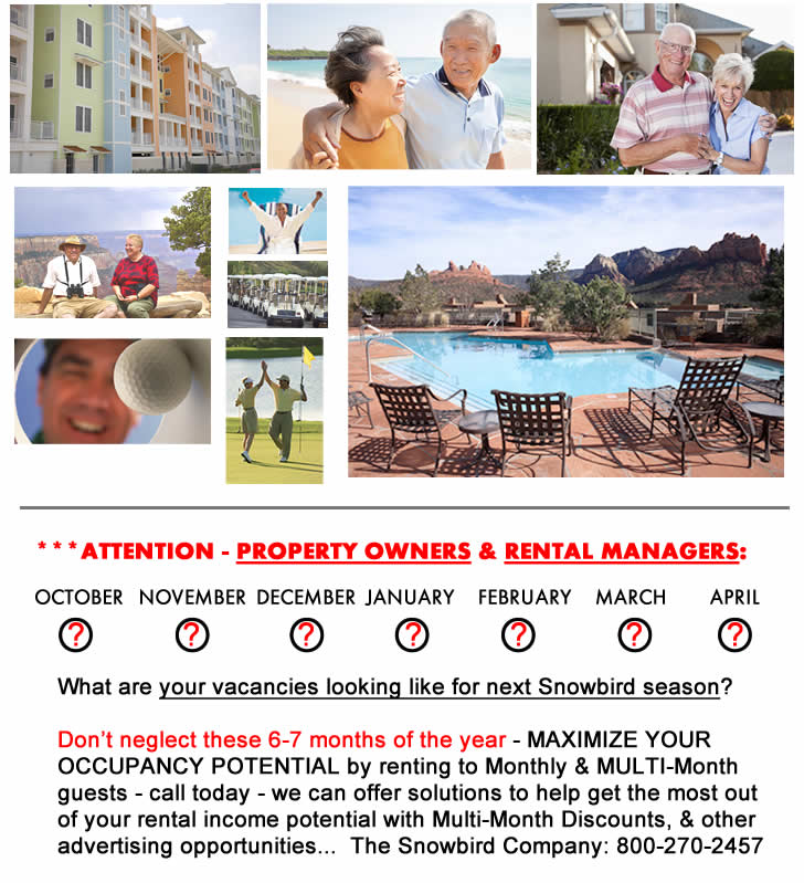 56 New Snowbird Multi-Month Vacation Rentals Just Added in