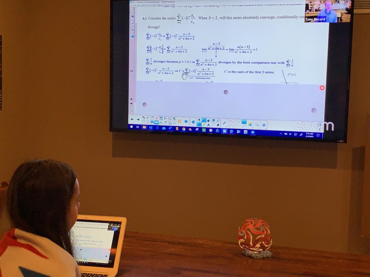 Grace doing online prep for next month's AP Calc BC test