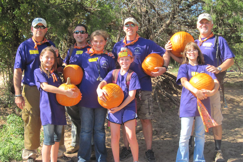 Group with pumpkins