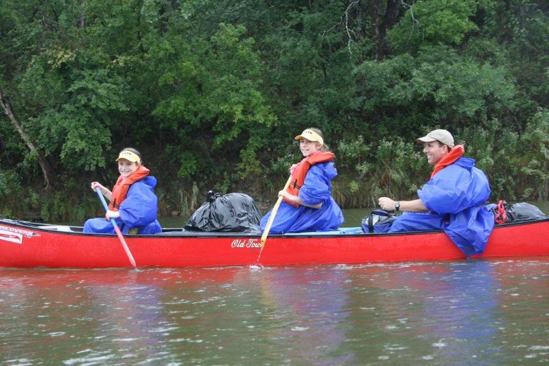 Dad and Daughters canoeing