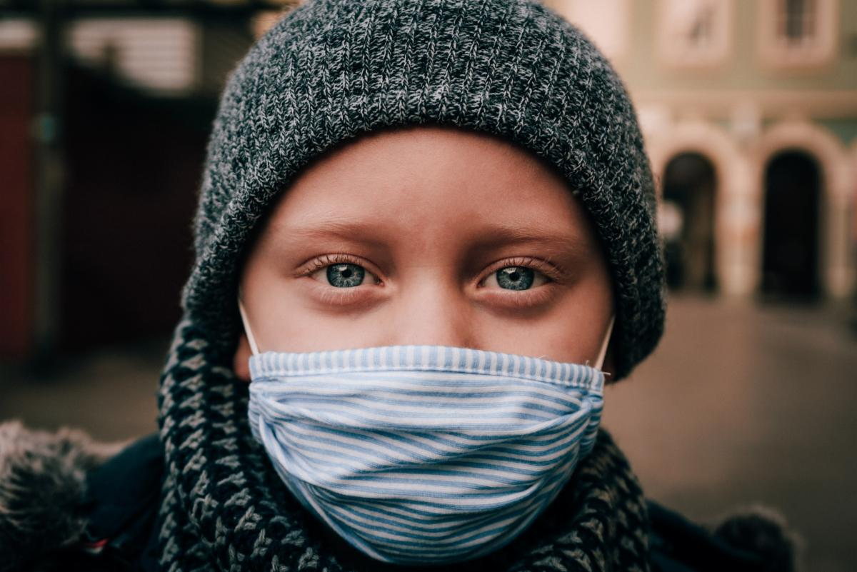child with mask