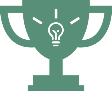 green trophy with lightbulb