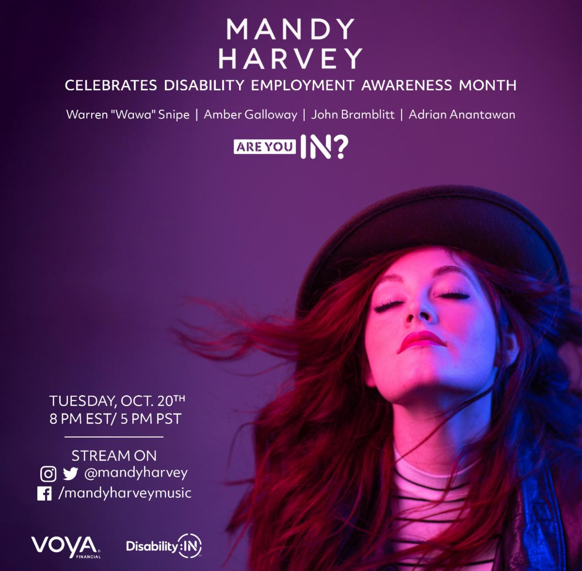 "Mandy Harvey celebrates disability employment awareness month. Also Featuring: Warren ""Wawa"" Snipe, Amber Galloway, John Bramblitt & Adrian Anantawan. Tuesday, Oct. 20th at 8 pm EST / 5 pm PST. Stream on Instagram & Twitter @mandyharvey or Facebook.com/man"
