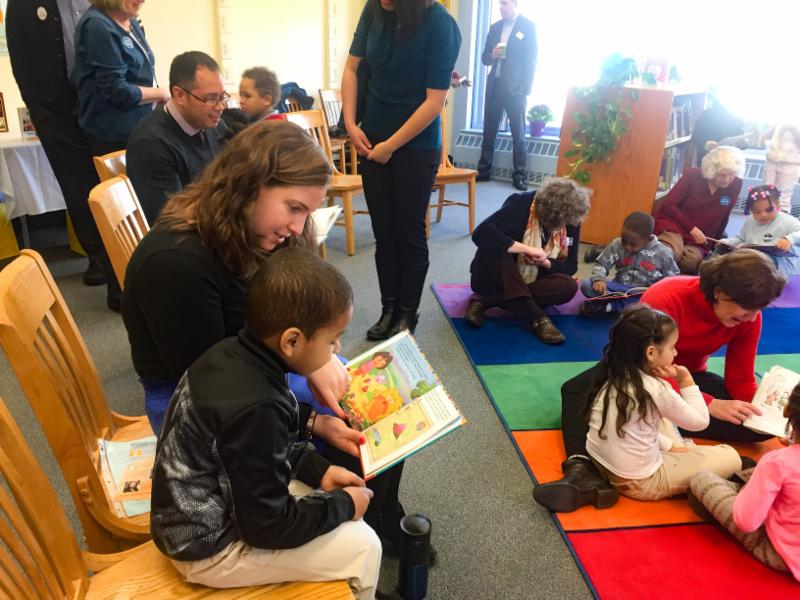 Story time at the launch of the McCormack School library.