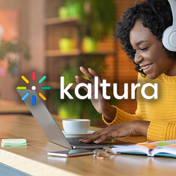 kaltura logo with woman on laptop