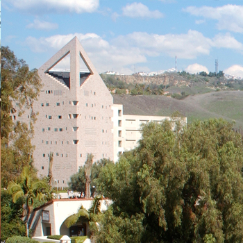 CPP CLA building in foreground and mountains in back