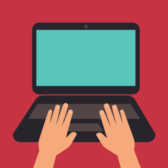 red background with cartoon laptop
