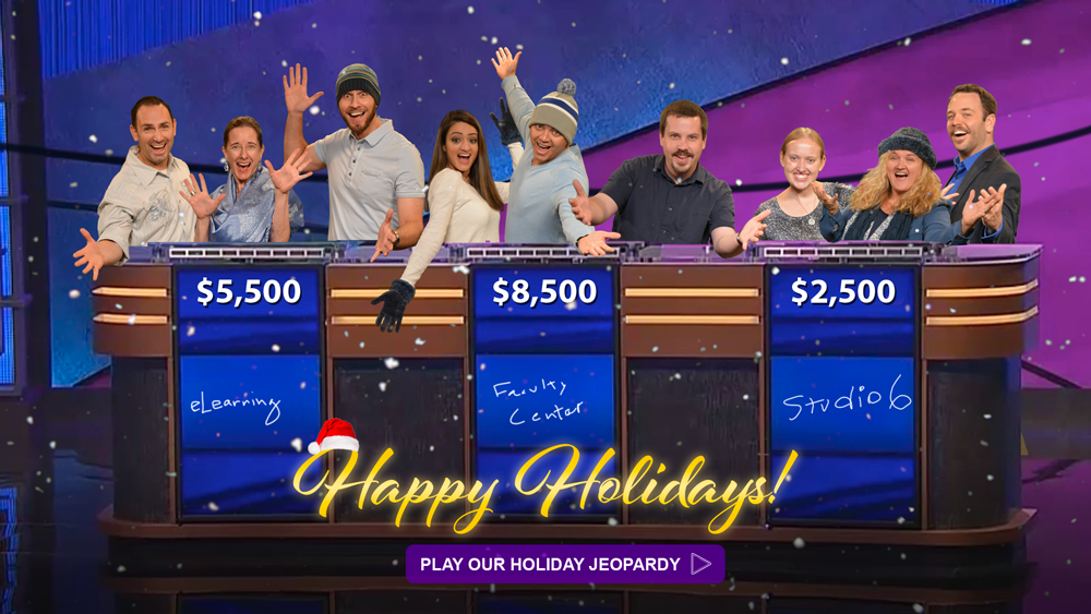 Happy Holidays from eLearning play our holiday jeopardy game