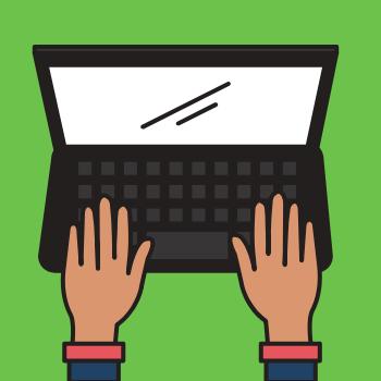 cartoon hands typing on computer