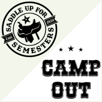 Saddle Up for Semesters and Camp Out logos