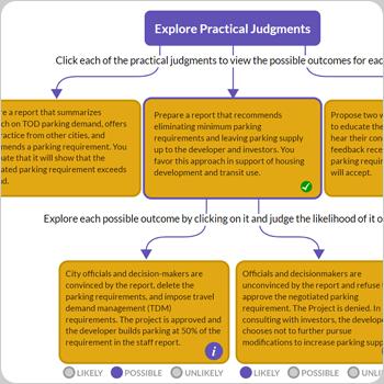 Screenshot of practical judgments activity