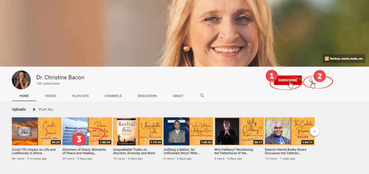 How to subscribe to Dr. Christine Bacon's YouTube channel for a chance to win!