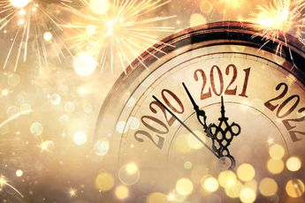Countdown To Midnight - Happy New Year 2021 - Abstract Defocused Background - Clock And Fireworks