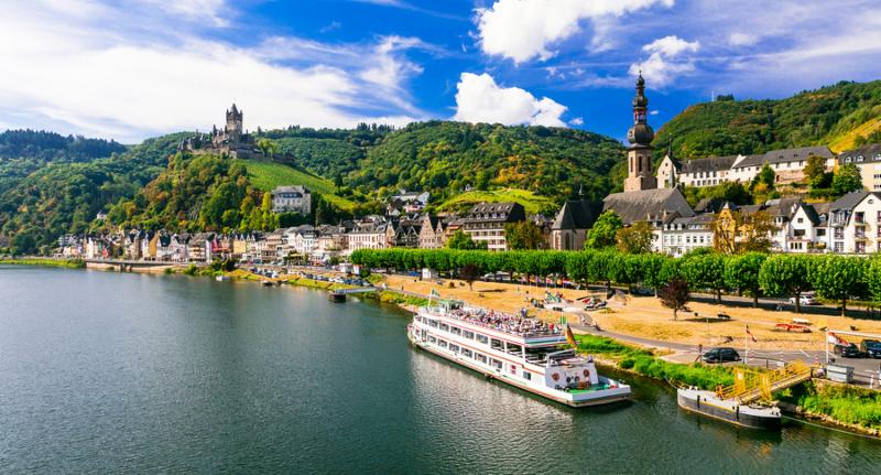 Romantic river cruises over Rhein - medieval Cochem town. Germany