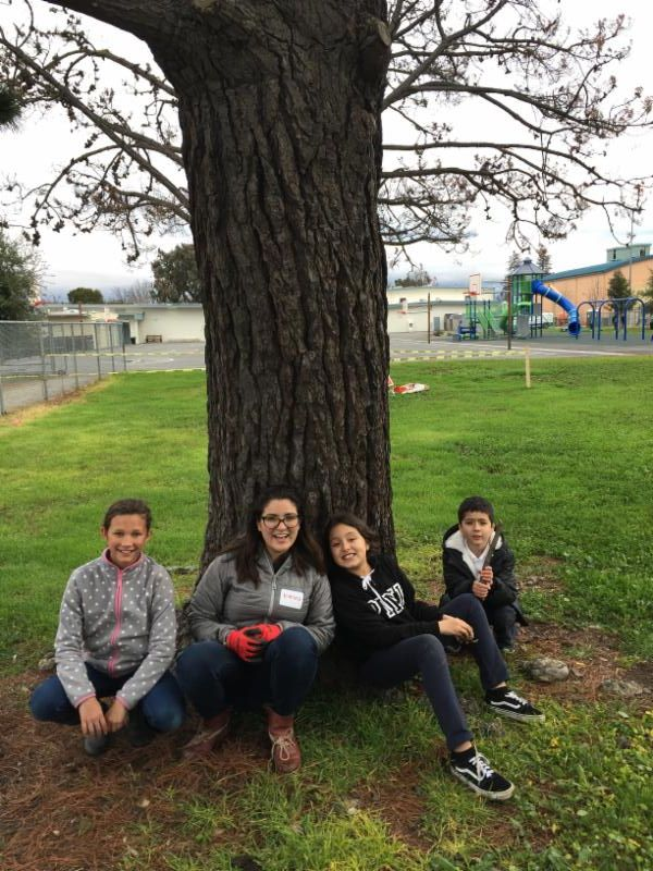 Junior Foresters under a tree