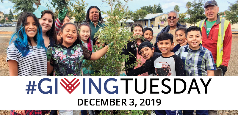Giving Tuesday is Dec. 3rd! [Pictured: Adorable kids planting a tree together. They are so excited!]