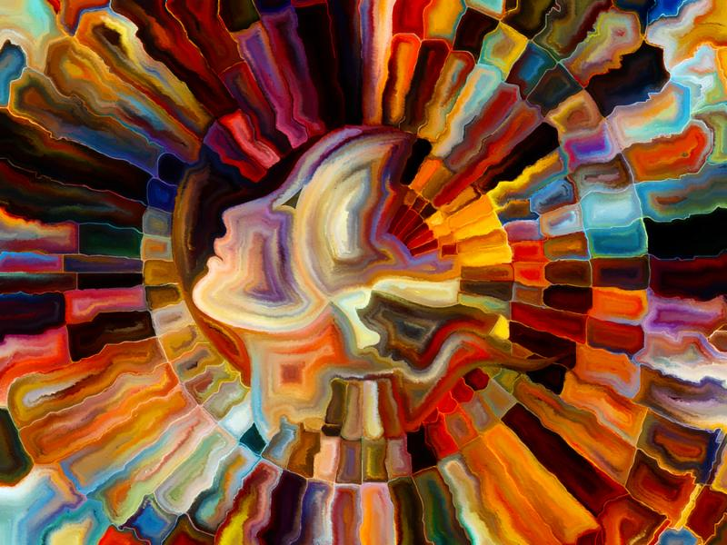 Colors of the Mind series. Visually attractive backdrop made of elements of human face and colorful abstract shapes suitable as element for layouts on mind reason thought emotion and spirituality
