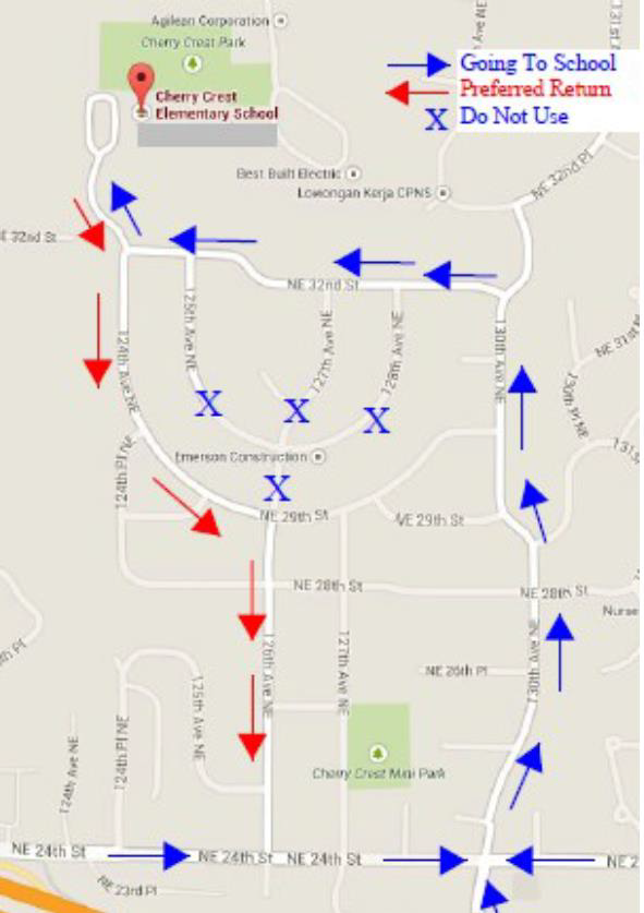 Traffic plan, showing approach to school along 130th Ave and NE 32nd St. and departure straight out along 124th Ave.