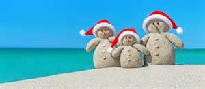Happy Holiday Snowmen on Beach
