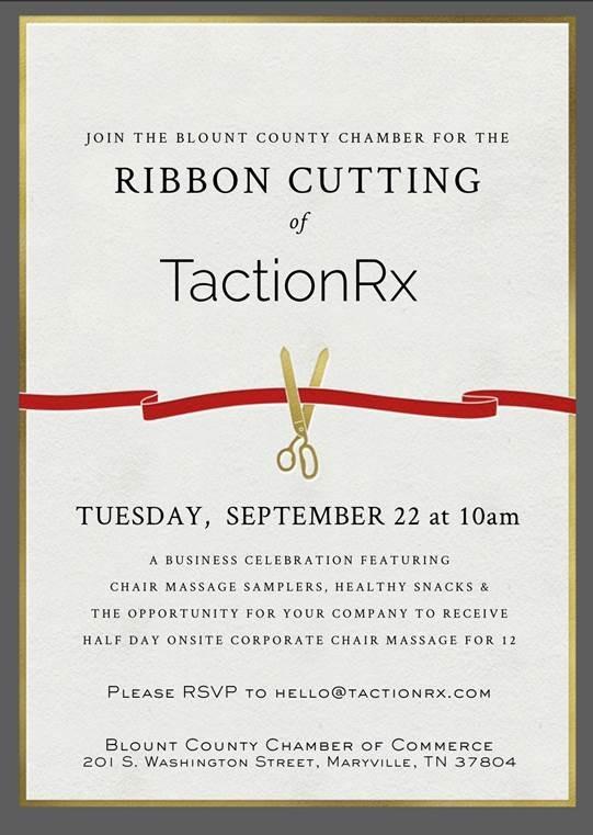 TactionRX ribbon cutting September 22 at 10 a.m. at the Blount Partnership, 201 S. Washington St., Maryville