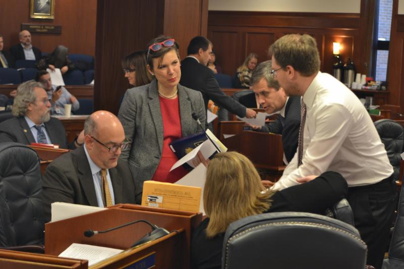Rep. Spohnholz discusses amendments with other legislators on Saturday, 11/4/17.