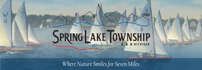 Township logo with an image of sailboats on Spring Lake