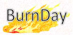 cartoon fire with Burn Day words