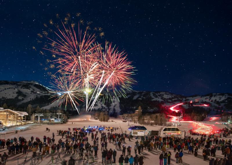 Jackson Hole fireworks and ski down