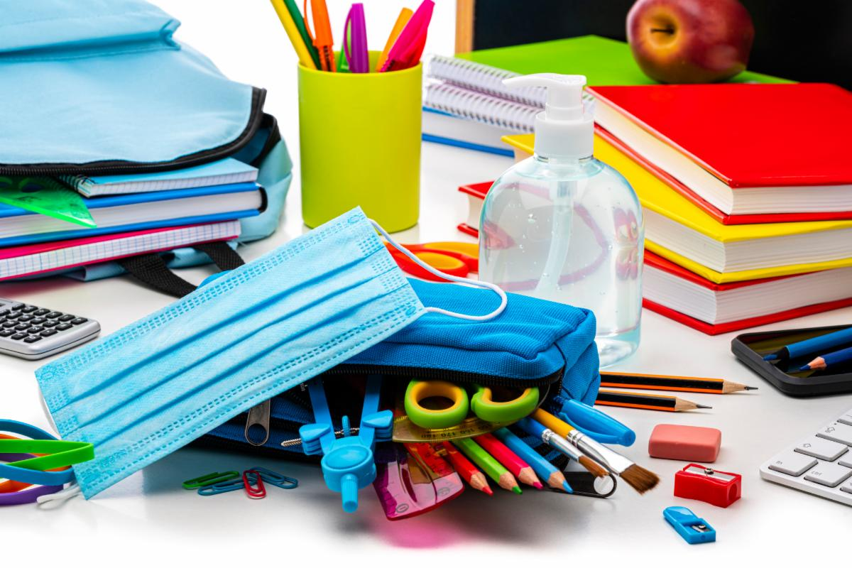 school supplies including face mask and sanitizer