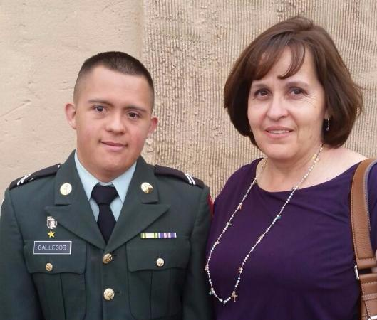 Angel Gallegos and his mom