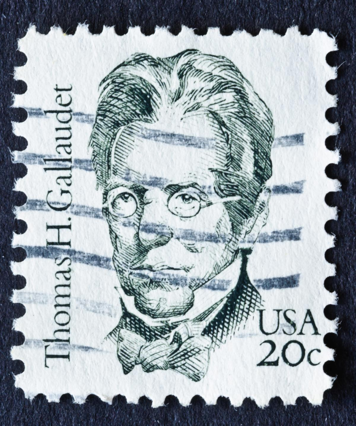 Stamp Image of Thomas Gallaudet. USA 20c