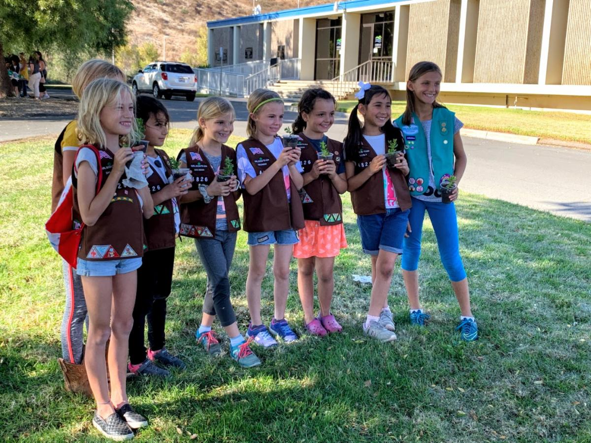 Girl Scouts holding up succulent plants.
