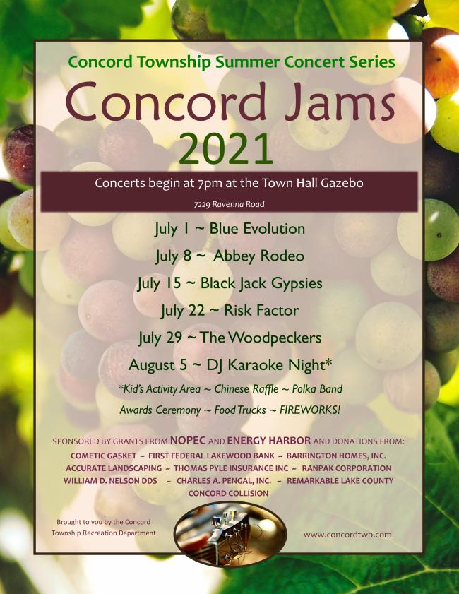 Concord Jams Schedule