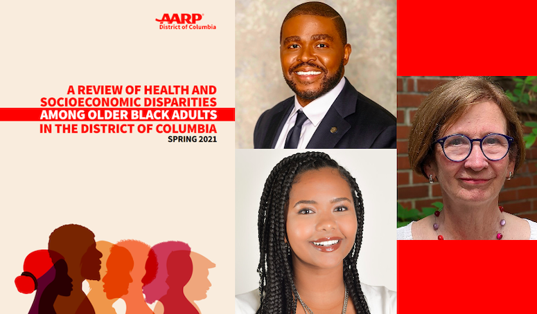 The cover of the new report by AARP DC and the Department of Health Systems Administration with photos of coauthors clockwise from top Dr. Christopher King Dr. Patricia Cloonan and alumna Amelia Bedri G20