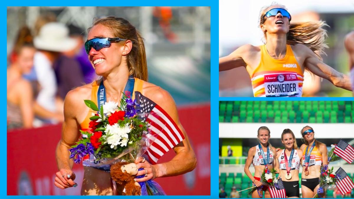 Three photos of Olympian and Georgetown double alumna Rachel Schneider